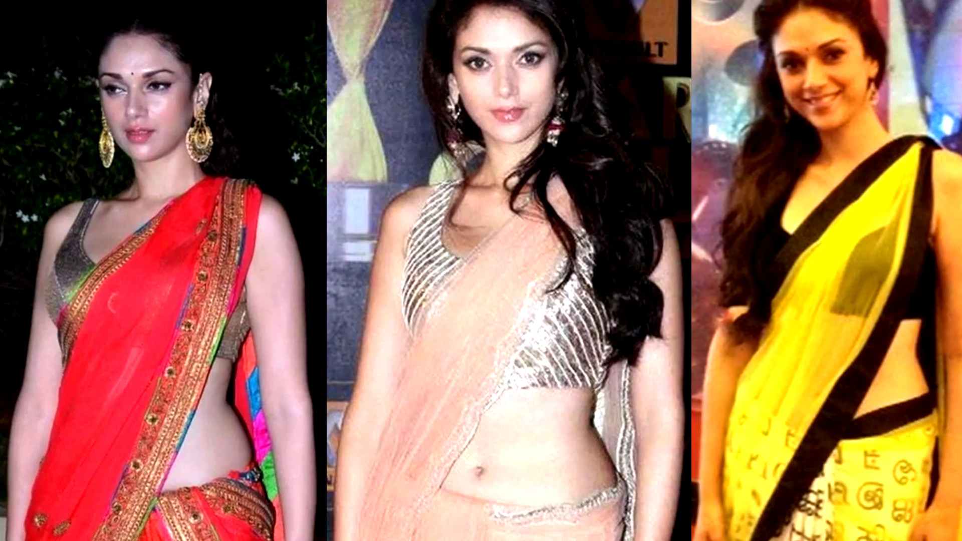 Aditi Rao Hydari bollywood event sexy saree navel show