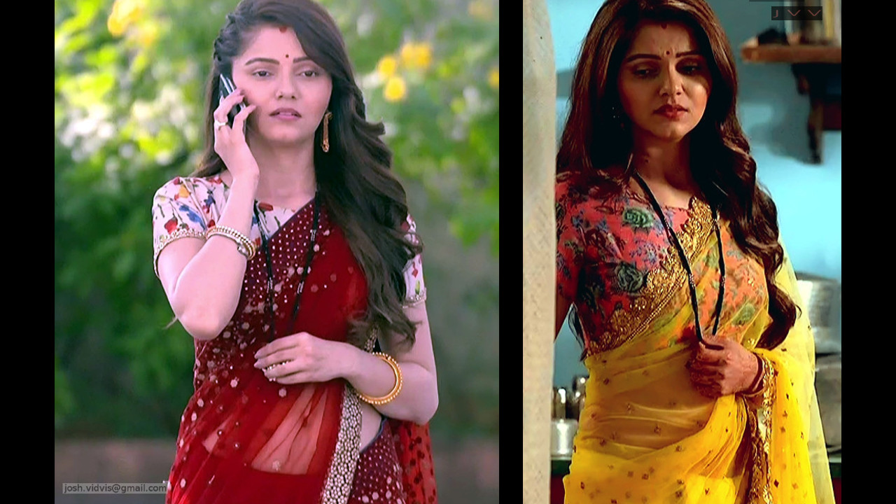 Rubina Dilaik tv actress low waist saree navel caps