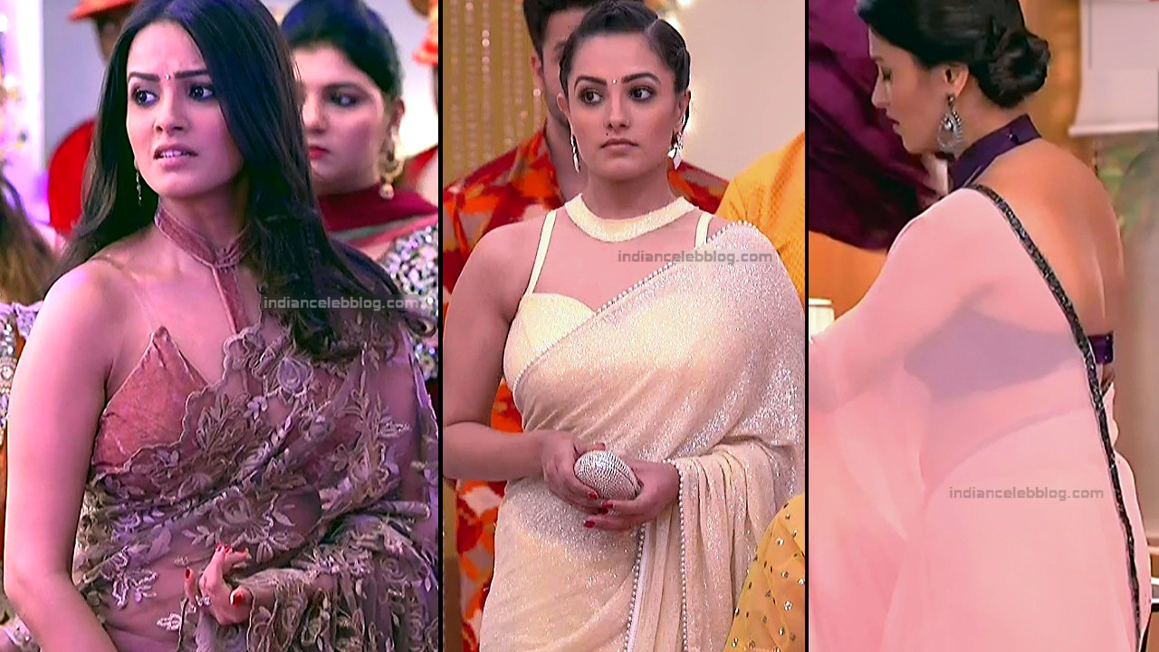 Anita Hassanandani TV Actress hot serial caps in transparent saree