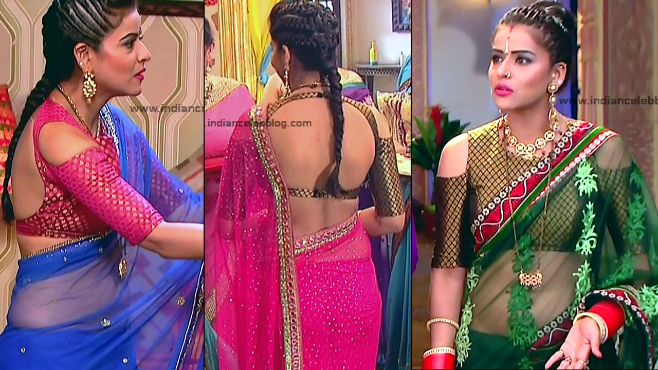 Ginnie Virdi Hindi TV Celeb Hot Backless Transparent Saree Caps