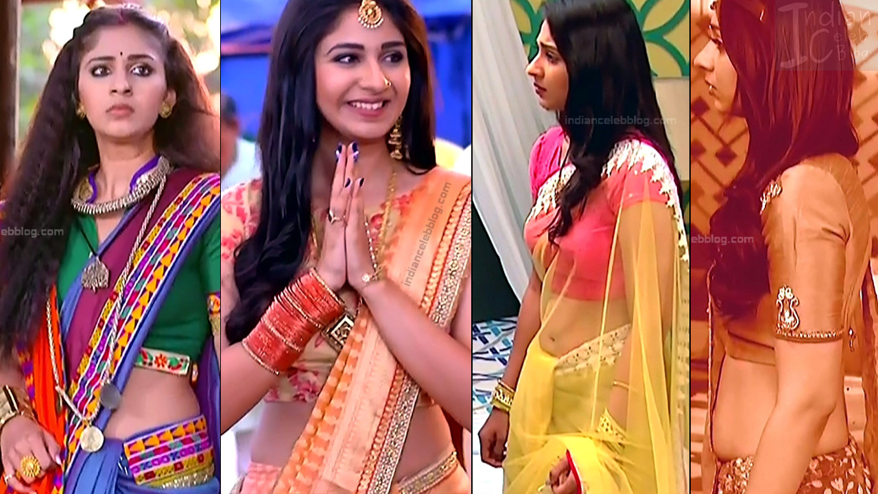 Vidhi Pandya navel show in saree, hd tv caps from Udaan serial