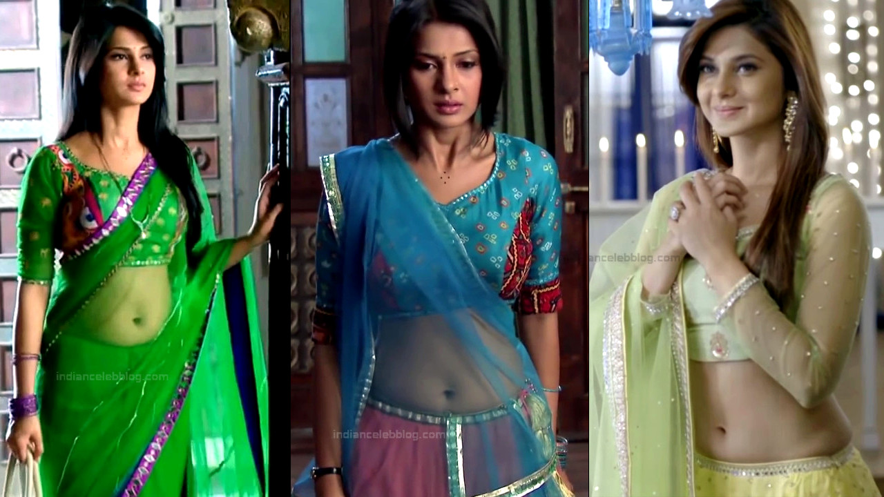 Jennifer Winget sexy navel n backless - trasparent sari hd caps