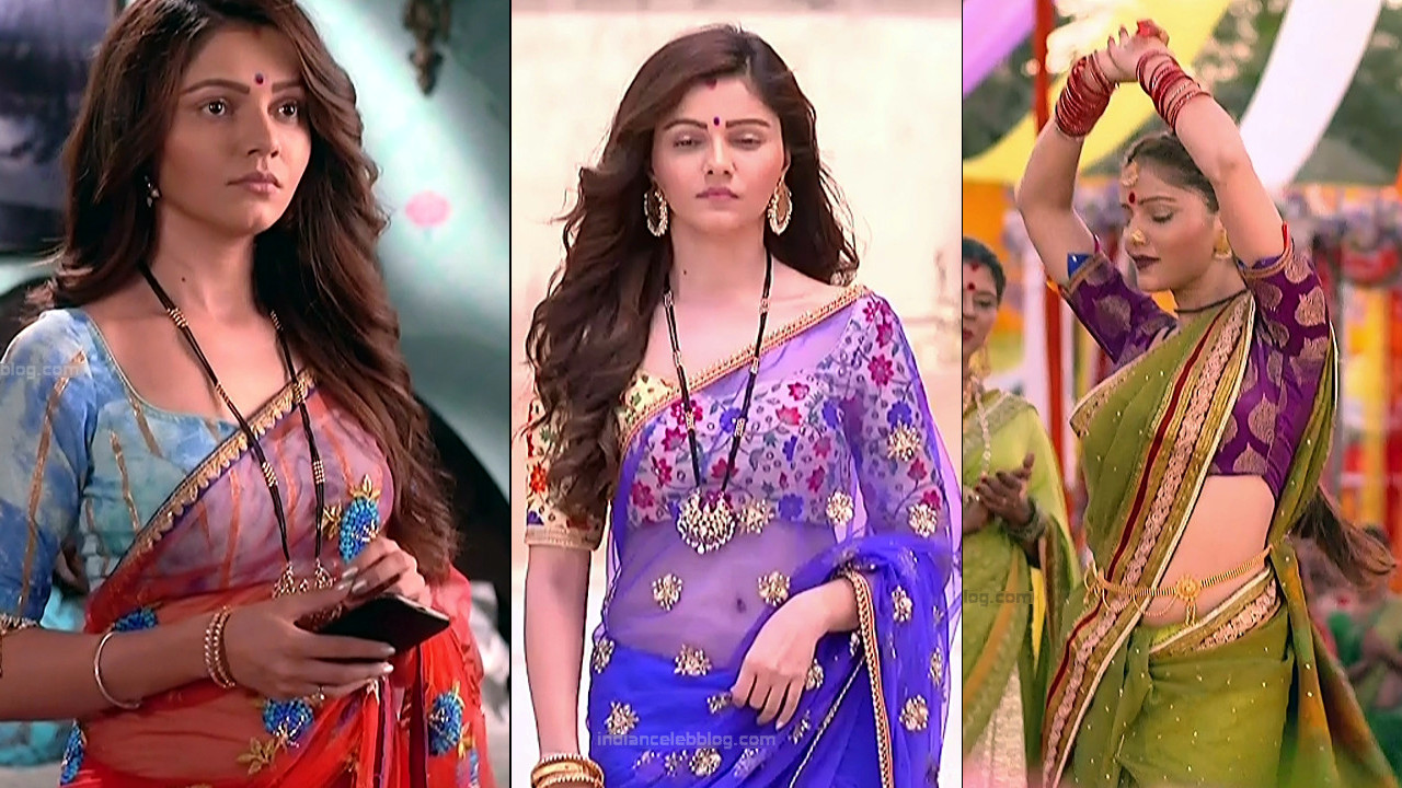 Rubina Dilaik hot low waist see through saree hd caps