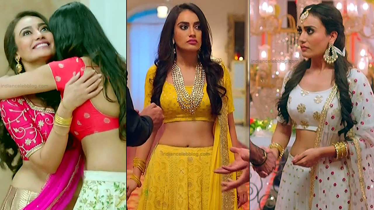 Surbhi Jyoti navel show in Lehenga choli Naagin 3 caps
