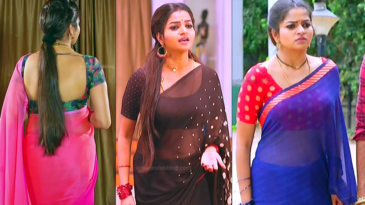Nithya Ram Tamil TV navel show transparent Saree caps