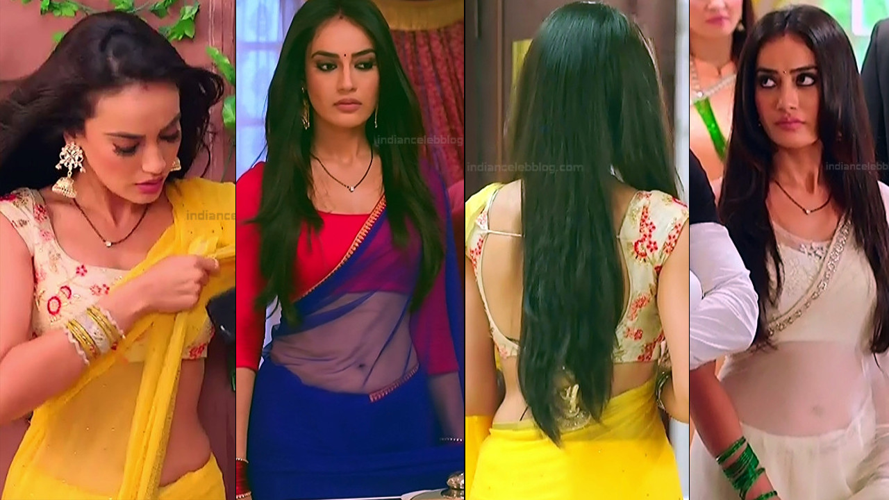Surbhi Jyoti sexy saree navel show Naagin 3 HD TV Caps