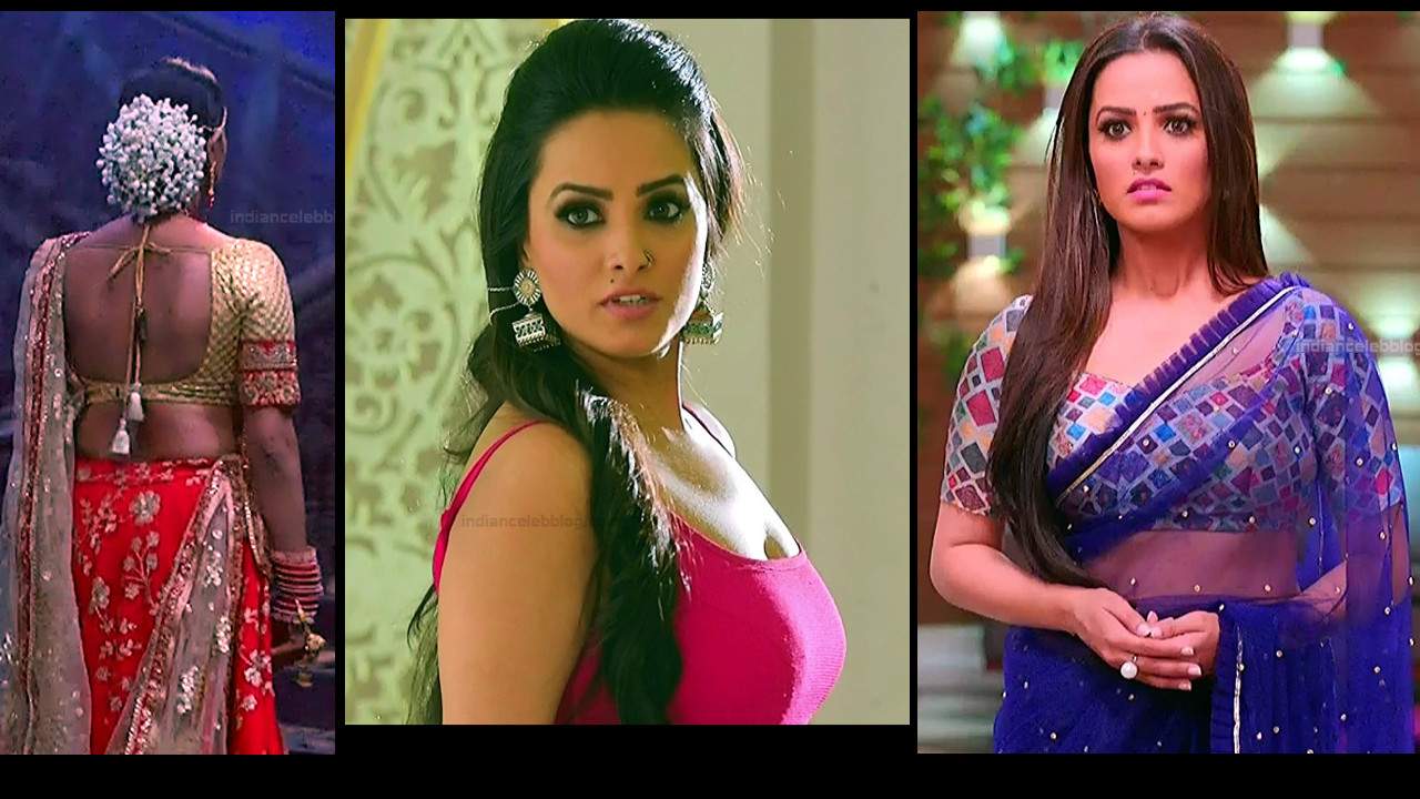 Anita Hassanandani hot navel cleavage show Naagin 3 Caps