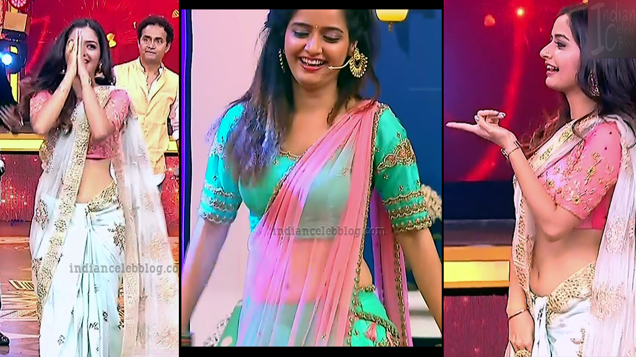 Ashika ranganath sexy navel show caps from Kannada tv event