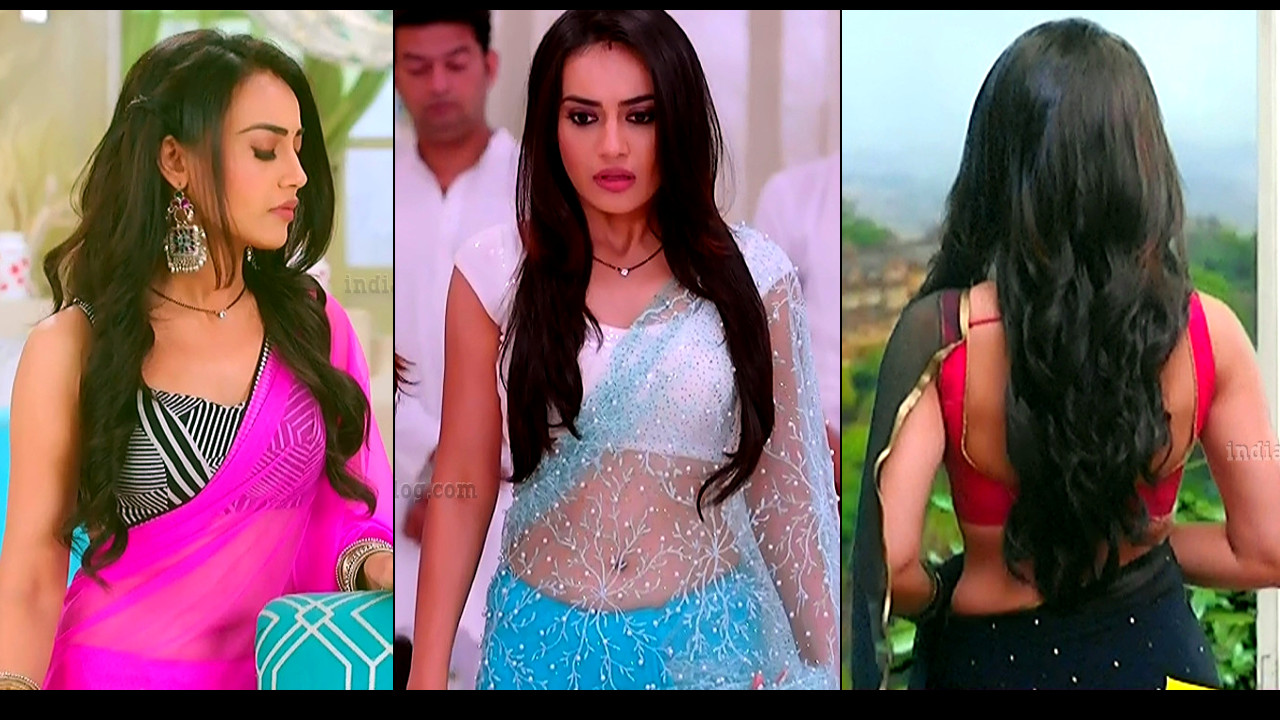 Surbhi jyoti sexy backless sleeveless saree show Naagin 3 Caps