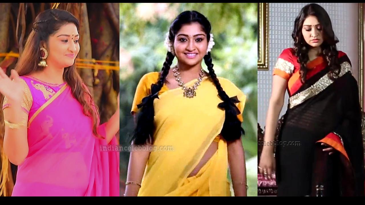 Syamantha Kiran Tamil TV Serial Actress Saree Caps