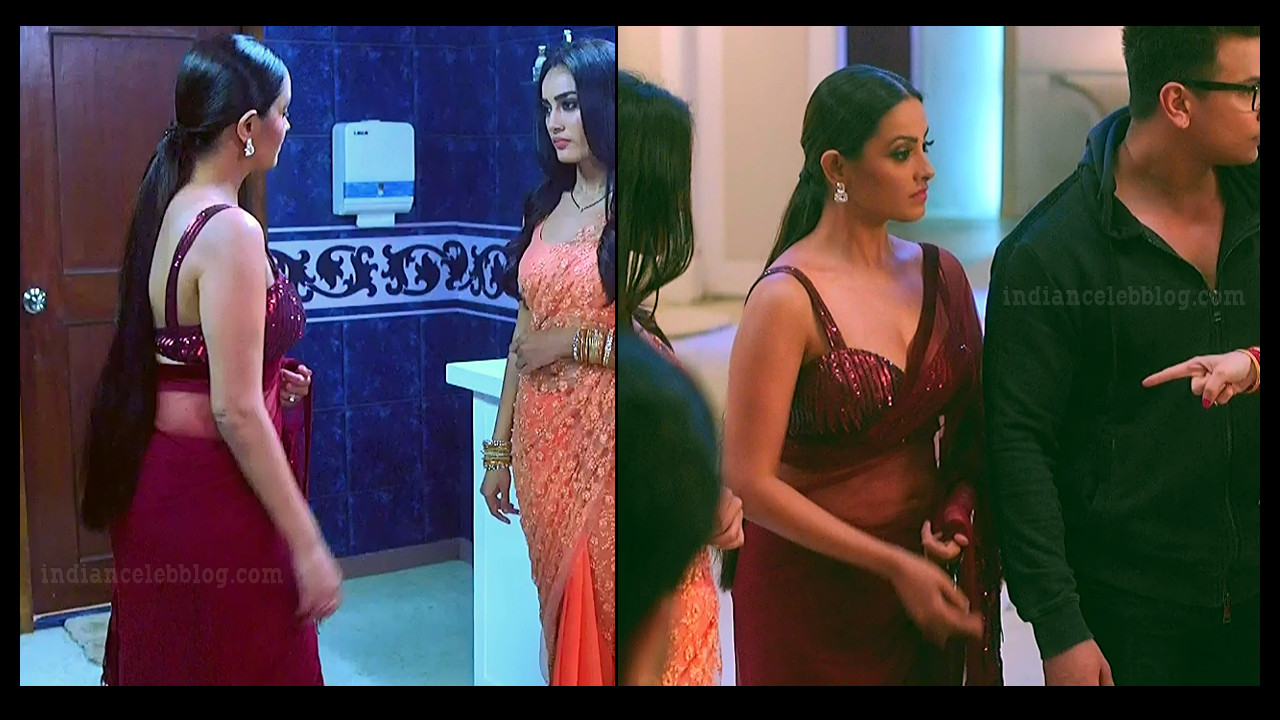 Anita Hassanandani Naagin 3 sleeveless saree pics