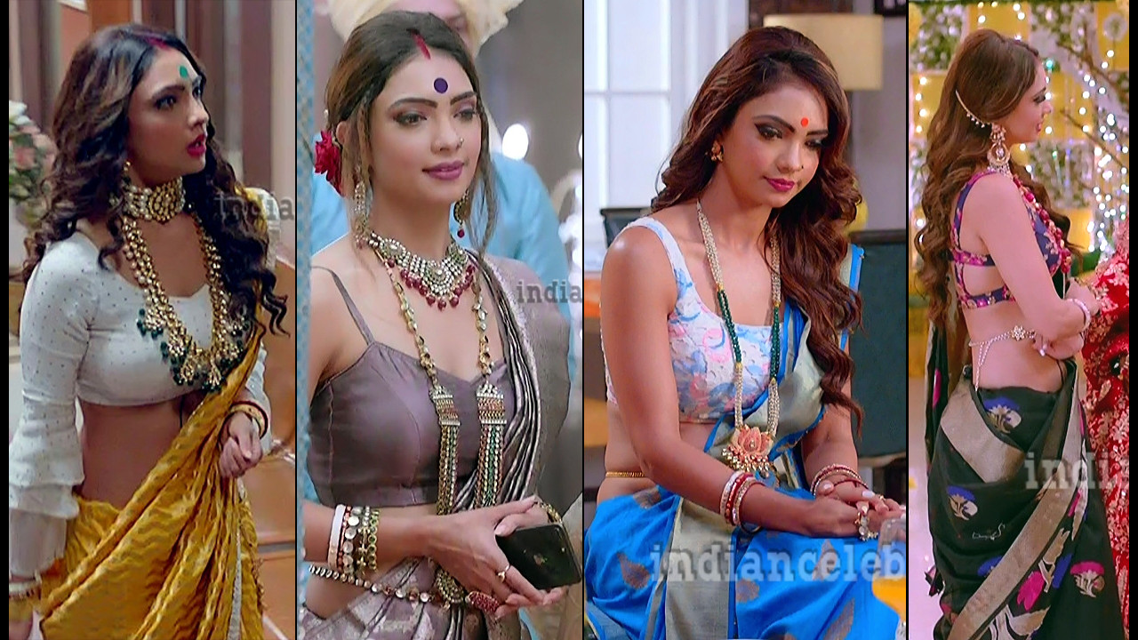 Pooja banerjee hot saree caps from Kasauti Zindagi kay