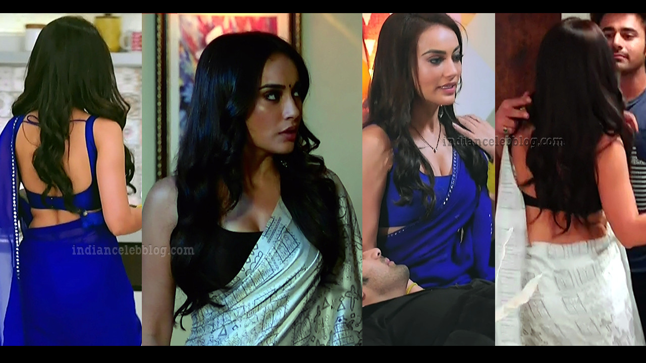 Surbhi jyoti hot pics in backless saree from Naagin 3 show.