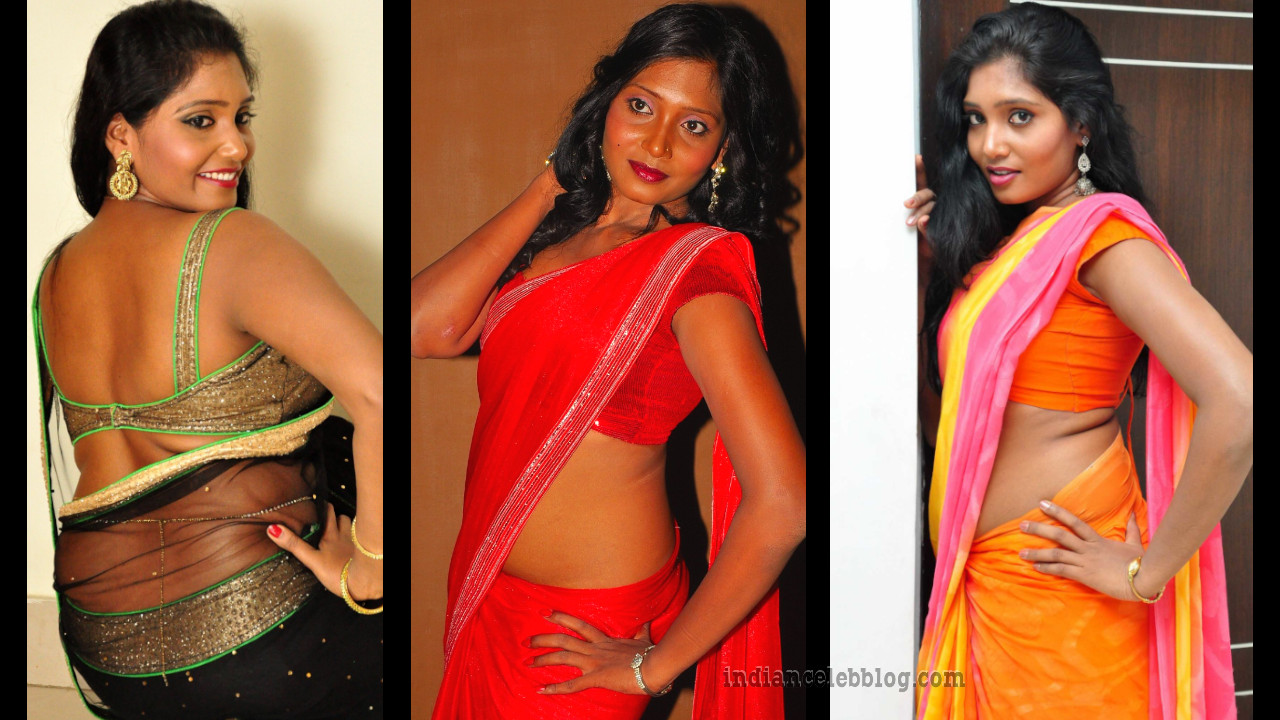 Eesha chamundi hot saree midriff show photo shoot