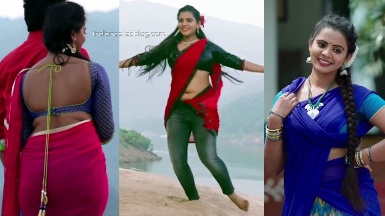 Manasa Himavarsha hot backless saree tollywood caps