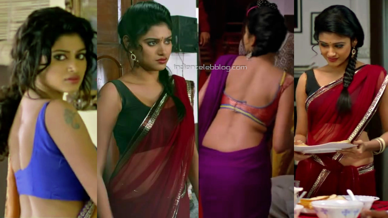 Oviya kollywood actress sexy backless blouse saree hd caps pics